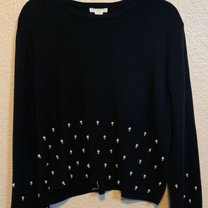 H&M Women's Pearl Beaded Black Sweater